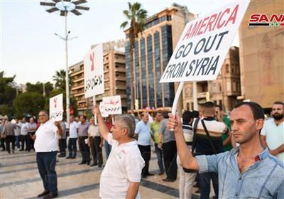 راهپیمایی در حلب علیه آمریکا و ترکیه